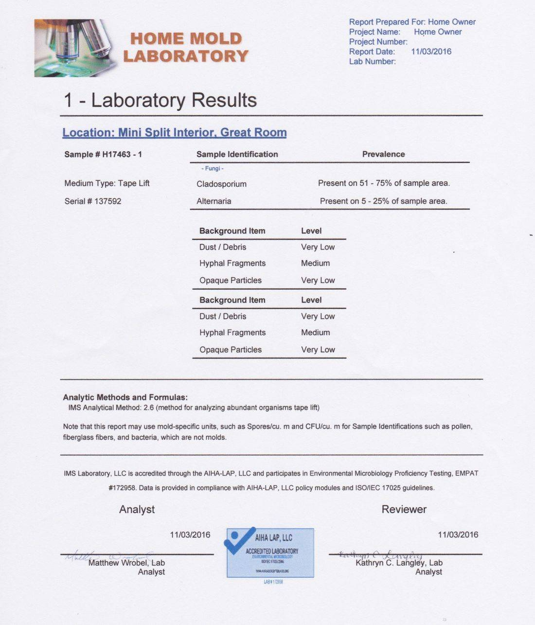 Lab Results Page 1